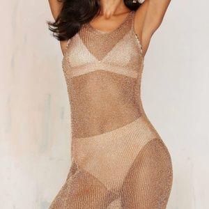 Glamorous Fortune Favors Metallic Mesh Dress